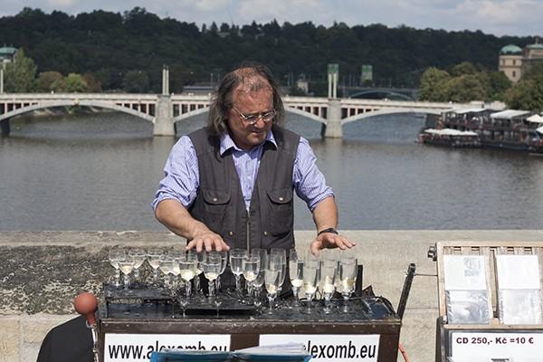 Straatmuzikant Karelsbrug Praag