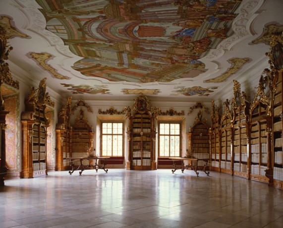 Bibliotheek klooster Vyssi Brod Tsjechie
